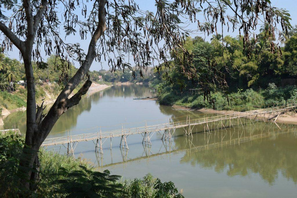 luang prabang laos bamboo bridge